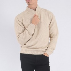 Pull col montant JACO Beige
